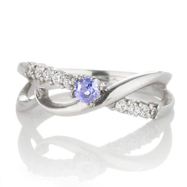 ダイヤモンド 12月誕生石 K18ホワイトゴールド タンザナイト ダイヤモンド リング