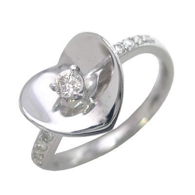 K18ホワイトゴールドダイヤモンドリング(ハートモチーフ) 【DEAL】