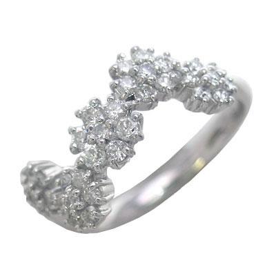 K18ホワイトゴールドダイヤモンドリング(フラワーモチーフ) 【DEAL】