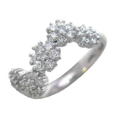 K18ホワイトゴールドダイヤモンドリング(フラワーモチーフ) 【DEAL】 末広 スーパーSALE【今だけ代引手数料無料】