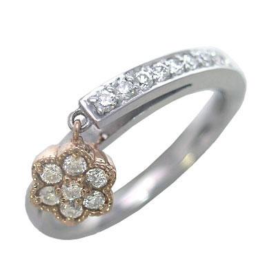 K18ホワイトゴールド・ピンクゴールドダイヤモンドリング(フラワーモチーフ) 【DEAL】