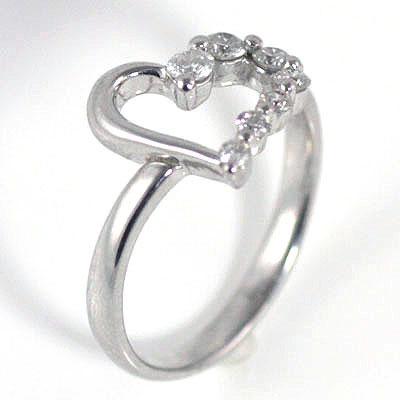 ハート K18ホワイトゴールドダイヤモンドリング(ハートモチーフ) 末広 スーパーSALE【今だけ代引手数料無料】