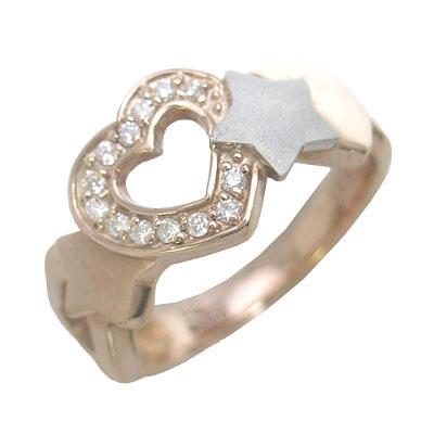 プラチナ900・K18ピンクゴールドダイヤモンドリング(ハート・星モチーフ) 【DEAL】