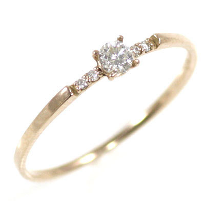 ダイヤモンド ダイヤ ( 4月誕生石 ) K18ピンクゴールド ダイヤモンドリング 末広 スーパーSALE