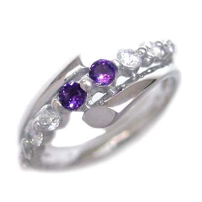 スイート エタニティ ダイヤモンド 10 個 ( 2月誕生石 ) プラチナ アメジスト・ダイヤモンドリング 結婚 10周年記念
