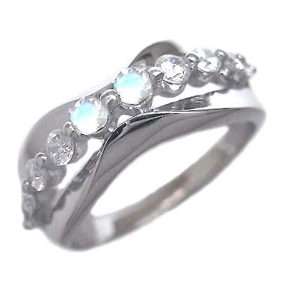 スイート エタニティ ダイヤモンド 10 個 ( 6月誕生石 ) プラチナ ムーンストーン・ダイヤモンドリング 結婚 10周年記念 末広 スーパーSALE