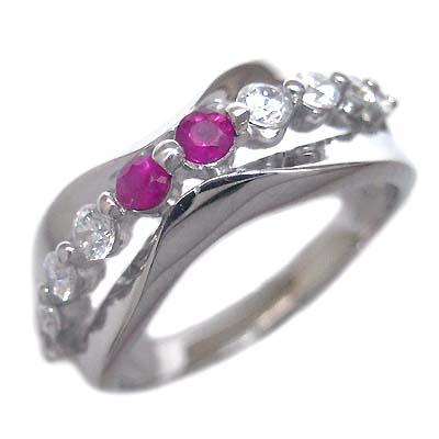 スイート エタニティ ダイヤモンド 10 個 ( 7月誕生石 ) プラチナ ルビー・ダイヤモンドリング 結婚 10周年記念