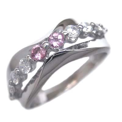 スイート エタニティ ダイヤモンド 10 個 ( 10月誕生石 ) プラチナ ピンクトルマリン・ダイヤモンドリング 結婚 10周年記念