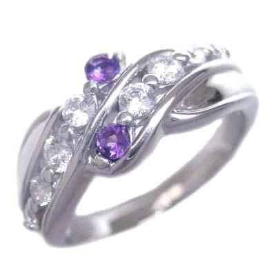ダイヤモンド 2月誕生石 プラチナ アメジスト ダイヤモンド リング