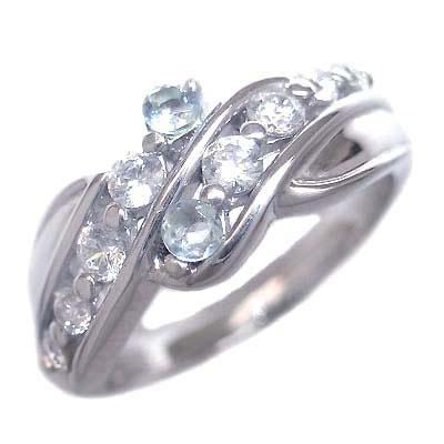 ダイヤモンド 3月誕生石 プラチナ アクアマリン ダイヤモンド リング