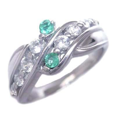 ダイヤモンド 5月誕生石 プラチナ エメラルド ダイヤモンド リング