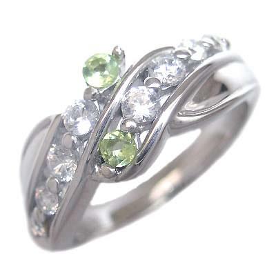 ダイヤモンド 8月誕生石 プラチナ ペリドット ダイヤモンド リング
