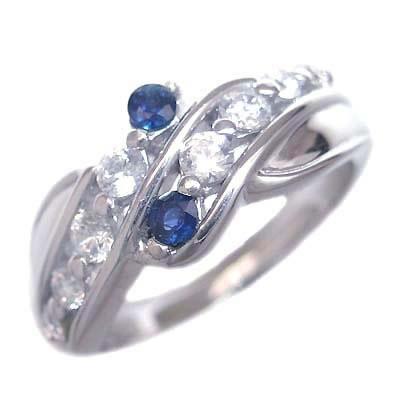 ダイヤモンド 9月誕生石 プラチナ サファイア ダイヤモンド リング