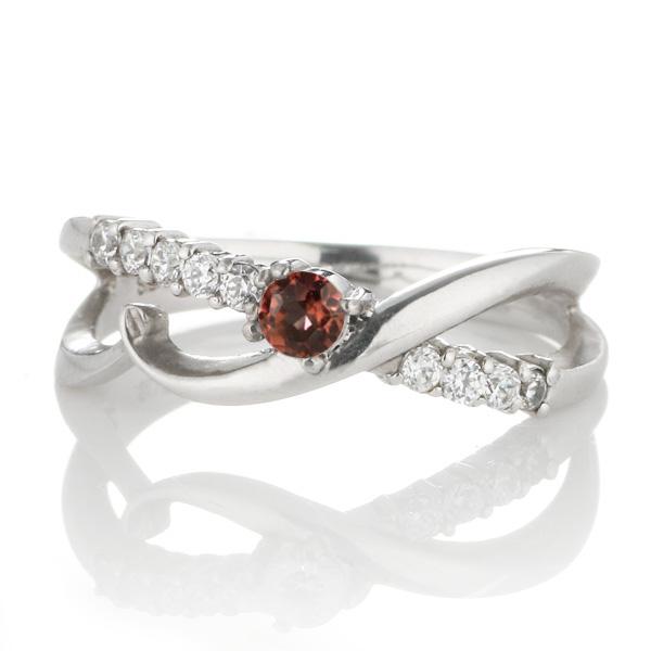 スイート エタニティ ダイヤモンド 10 個 ( 1月誕生石 ) プラチナ ガーネット・ダイヤモンドリング 結婚 10周年記念