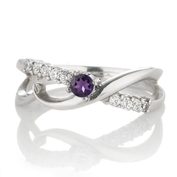 スイート エタニティ ダイヤモンド 10 個 ( 2月誕生石 ) プラチナ アメジスト・ダイヤモンドリング 結婚 10周年記念【DEAL】