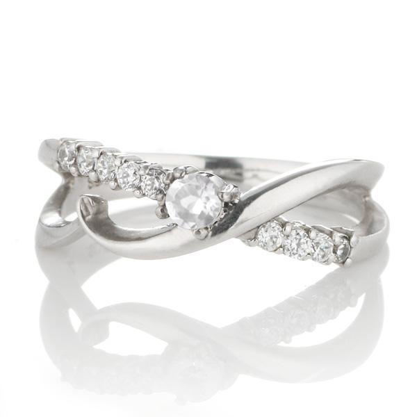 スイート エタニティ ダイヤモンド 10 個 ( 6月誕生石 ) プラチナ ムーンストーン・ダイヤモンドリング 結婚 10周年記念【DEAL】