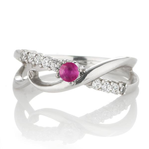 スイート エタニティ ダイヤモンド 10 個 ( 7月誕生石 ) プラチナ ルビー・ダイヤモンドリング 結婚 10周年記念【DEAL】