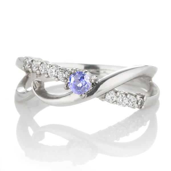 スイート エタニティ ダイヤモンド 10 個 ( 12月誕生石 ) プラチナ タンザナイト・ダイヤモンドリング 結婚 10周年記念