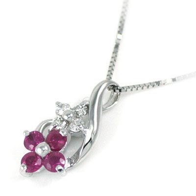 ( 7月誕生石 ) K18ホワイトゴールド ダイヤモンド ルビーペンダントネックレス(お花モチーフ) 【DEAL】