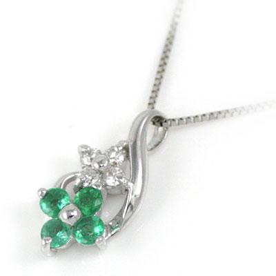 ( 5月誕生石 ) K18ホワイトゴールド ダイヤモンド エメラルドペンダントネックレス(お花モチーフ) 【DEAL】