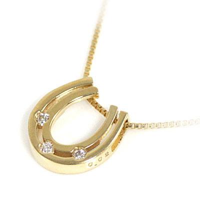( 4月誕生石 ) K18 ダイヤモンドペンダントネックレス(馬蹄モチーフ)