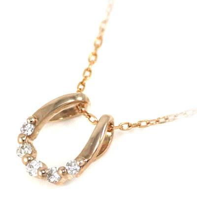 ( 4月誕生石 ) K18ピンクゴールドダイヤモンドペンダントネックレス(馬蹄モチーフ) 末広 スーパーSALE