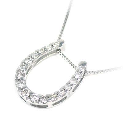 ( 4月誕生石 ) K18ホワイトゴールド ダイヤモンドペンダントネックレス(馬蹄モチーフ)