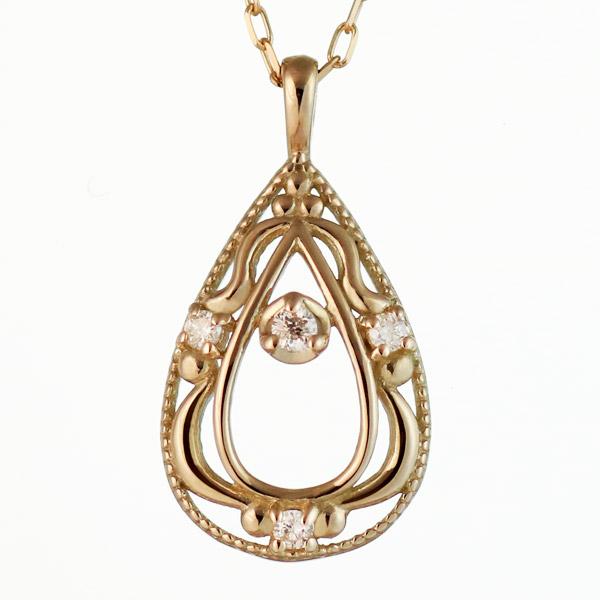 ネックレス ダイヤモンド K10 イエロー ゴールド ネックレス しずく モチーフ ダイヤモンド 0.02ct クリスマス 人気 送料無料