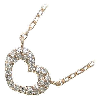 ハート (11/21 9:59まで)◆K18ピンクゴールドダイヤモンドペンダントネックレス(ハートモチーフ)