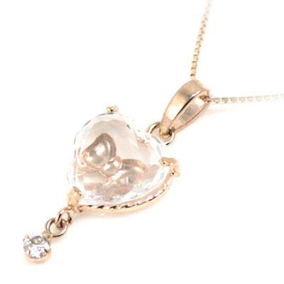 ( ( 4月誕生石 4月誕生石 ) K10ピンクゴールド ダイヤモンドペンダントネックレス(ハート )・リボンモチーフ), 家電のネイビー:152ce2e3 --- kutter.pl