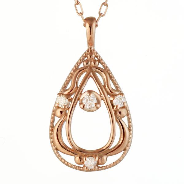 ネックレス ダイヤモンド K10 ピンク ゴールド ネックレス しずく モチーフ ダイヤモンド 0.02ct クリスマス 人気 送料無料