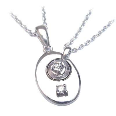 ( 4月誕生石 ) シルバー ダイヤモンドペアペンダントネックレス