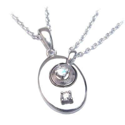 ムーンストーン ネックレス ( 4月・6月誕生石 ) シルバー ダイヤモンド・ムーンストーンペアペンダントネックレス 末広 スーパーSALE