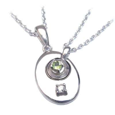 ペリドット ネックレス ( 4月・8月誕生石 ) シルバー ダイヤモンド・ペリドットペアペンダントネックレス