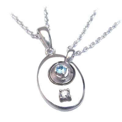 ブルートパーズ ネックレス ( 4月・11月誕生石 ) シルバー ダイヤモンド・ブルートパーズペアペンダントネックレス