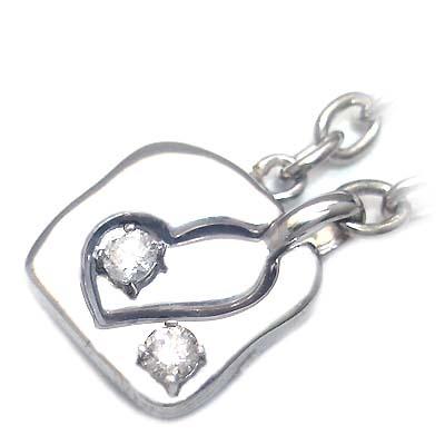 ( 4月誕生石 ) シルバー ダイヤモンドペアチャーム