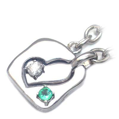 エメラルド チャーム ( 4月・5月誕生石 ) シルバー ダイヤモンド・エメラルドペアチャーム