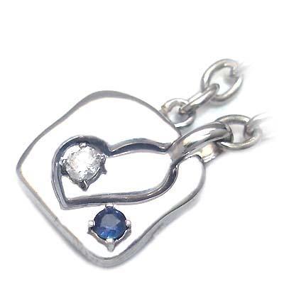 サファイア チャーム ( 4月・9月誕生石 ) シルバー ダイヤモンド・サファイアペアチャーム