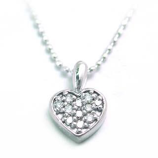 ハート ( K18WG )ダイヤモンドペンダントネックレス(ハートモチーフ) 【DEAL】