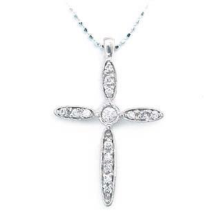 ネックレス メンズ ( 4月誕生石 ) K18WG ダイヤモンドクロスネックレス【DEAL】