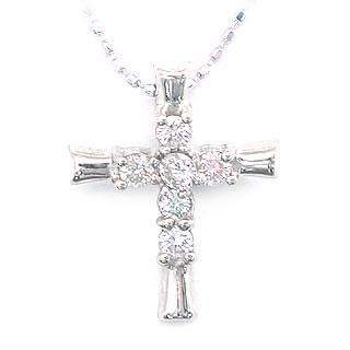 ネックレス メンズ ( 4月誕生石 ) K18WG ダイヤモンドクロスネックレス