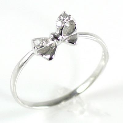 ( Brand Jewelry me. ) K10ホワイトゴールドダイヤモンドリング(リボンモチーフ)