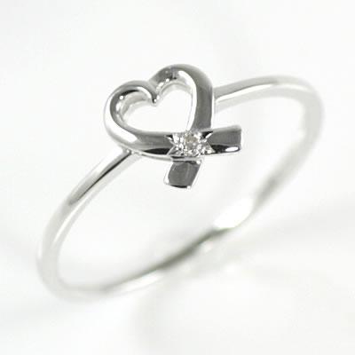 ( Brand Jewelry me. ) K10ホワイトゴールドダイヤモンドリング(ハートモチーフ)