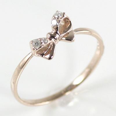 ( Brand Jewelry me. ) K10ピンクゴールドダイヤモンドリング(リボンモチーフ)