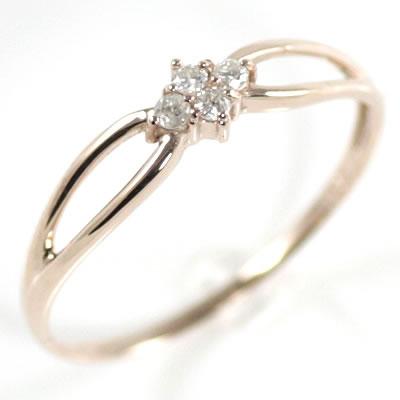 ダイヤモンドリング 2連 K10 ピンクゴールド 華奢 細み 可愛い