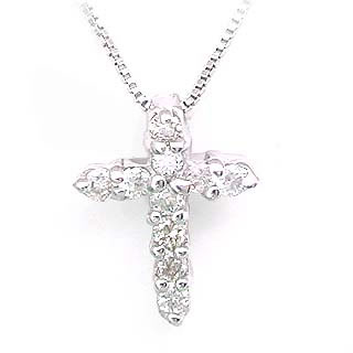 クロス ( K18WG )ダイヤモンドクロスペンダントネックレス【DEAL】