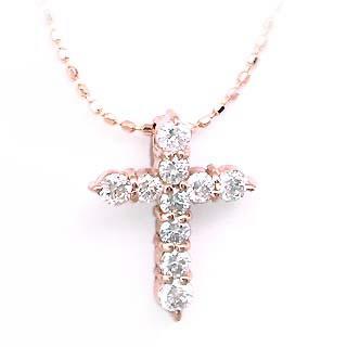 クロス K18PGダイヤモンドクロスペンダントネックレス