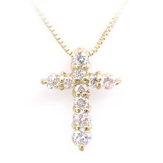 クロス K18ダイヤモンドクロスペンダントネックレス