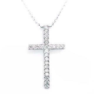 クロス ( K18WG )ダイヤモンドクロスペンダントネックレス