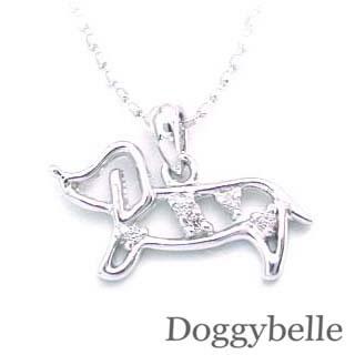 ( K18WG )ダイヤモンドペンダントネックレス 犬